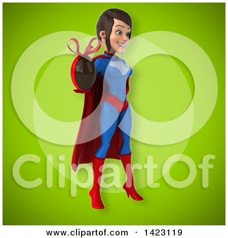 Clipart of a 3d Young Brunette White Female Super Hero in a Blue and Red Suit - Royalty Free Vector Illustration by Julos
