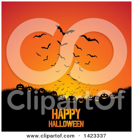 Clipart of a Happy Halloween Greeting Under Grass, Jackolantern Pumpkins and Flying Bats on Orange - Royalty Free Vector Illustration by KJ Pargeter