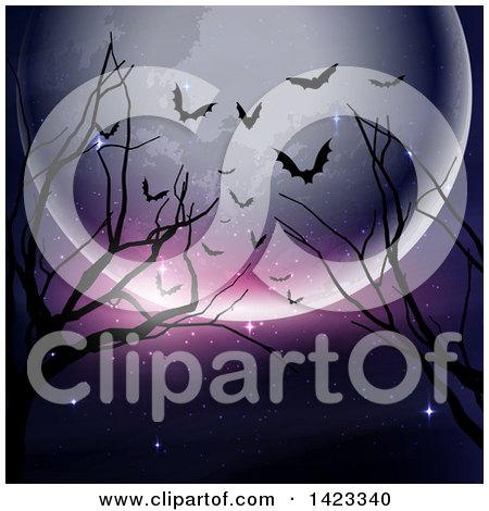 Clipart of a Halloween Full Moon, Bare Branches and Silhouetted Bats Background - Royalty Free Vector Illustration by KJ Pargeter