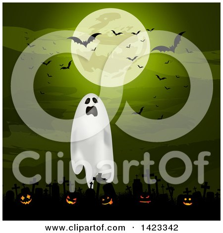 Clipart of a Green Full Moon with Vampire Bats over a Ghost and Lit Halloween Jackolantern Pumpkins in a Cemetery - Royalty Free Vector Illustration by KJ Pargeter
