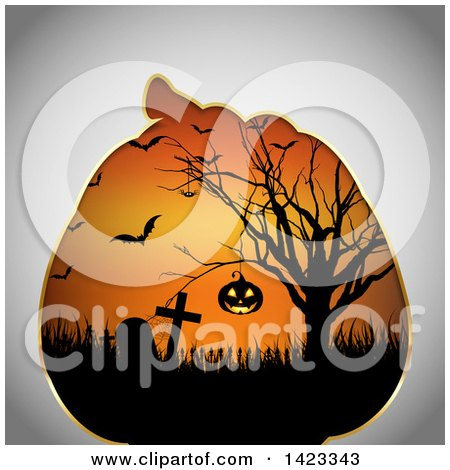 Clipart of a Halloween Pumpkin Frame with a Scene of a Hanging Jackolantern in a Tree, Tombstones and Vampire Bats - Royalty Free Vector Illustration by KJ Pargeter