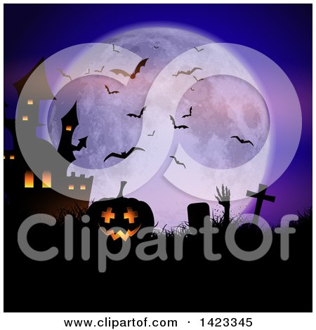 Clipart of a Silhouetted Lit Halloween Jackolantern Pumpkin and Haunted Castle with a Rising Zombie in a Cemetery Against a Full Moon - Royalty Free Vector Illustration by KJ Pargeter