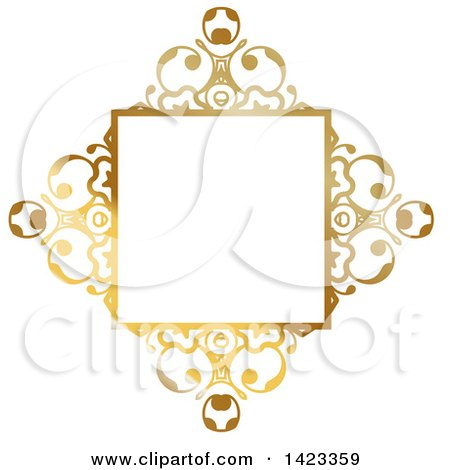 Clipart of a Gradient Ornate Fancy Golden Floral Frame Design Element - Royalty Free Vector Illustration by KJ Pargeter