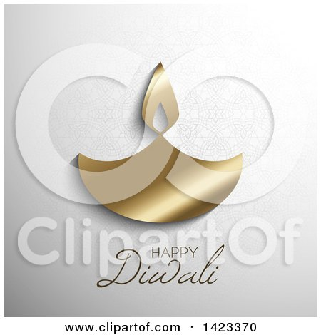 Happy Diwali Text With A Gold Oil Lamp On Gray