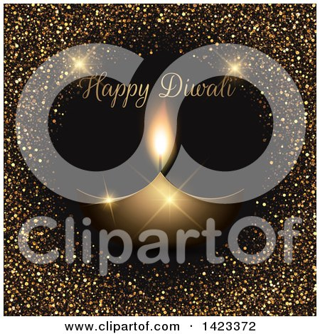 Clipart of Happy Diwali Text with an Oil Lamp and Glitter on Black - Royalty Free Vector Illustration by KJ Pargeter