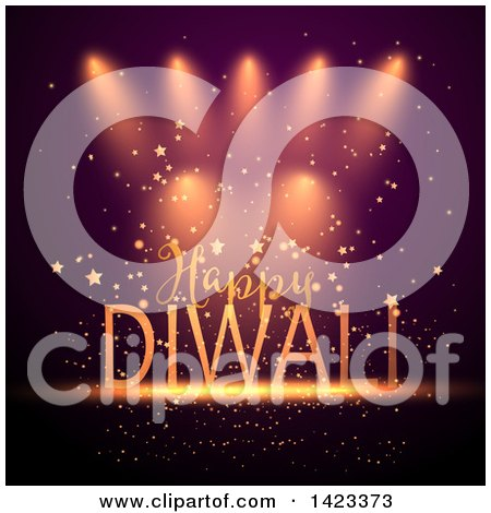 Clipart of Happy Diwali Text over Lights and Stars - Royalty Free Vector Illustration by KJ Pargeter