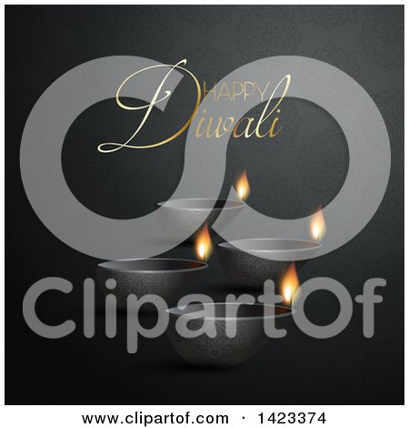 Clipart of Happy Diwali Text with Oil Lamps on Black - Royalty Free Vector Illustration by KJ Pargeter