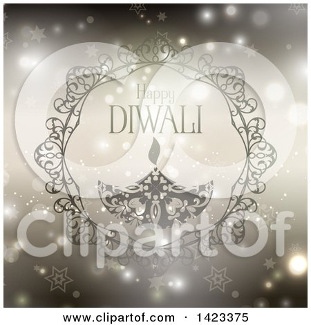 Clipart of Happy Diwali Text with an Oil Lamp over Stars and Flares - Royalty Free Vector Illustration by KJ Pargeter