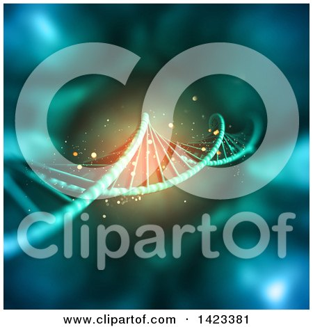 Clipart of a 3d Dna Background with Glowing Light - Royalty Free Illustration by KJ Pargeter