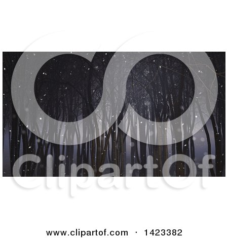 Clipart of a 3d Dark Foggy Forest on a Snowy Night - Royalty Free Illustration by KJ Pargeter