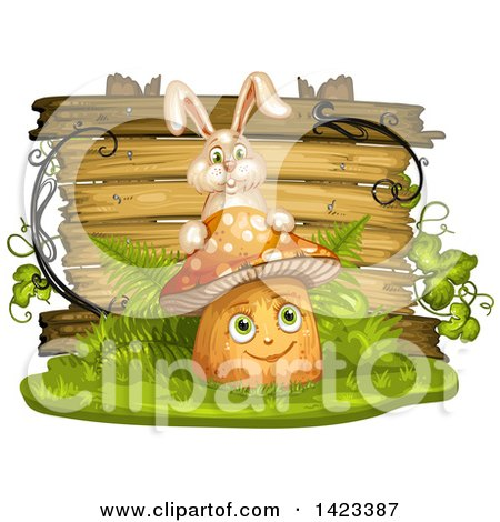 Clipart of a Wooden Plaque or Sign Behind a Mushroom Character and Rabbit - Royalty Free Vector Illustration by merlinul