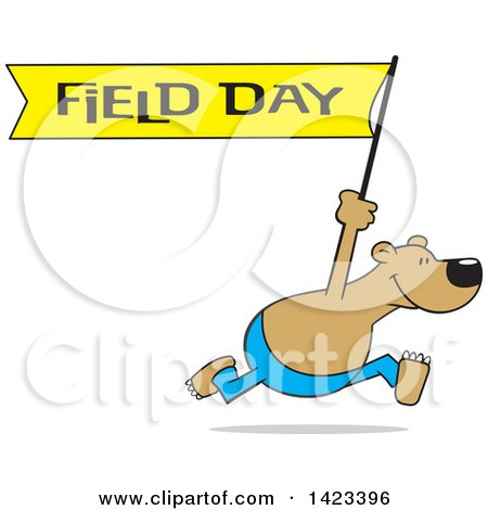 Clipart of a Cartoon Bear Running with a Field Day Banner - Royalty Free Vector Illustration by Johnny Sajem