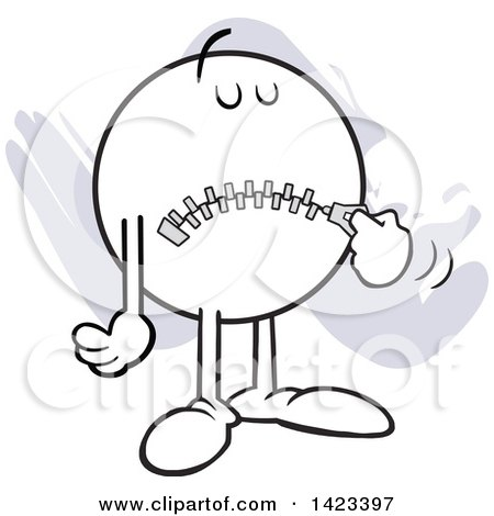 Clipart of a Cartoon Moodie Character Zipping up His Mouth, Hush Hush, over Purple Strokes - Royalty Free Vector Illustration by Johnny Sajem
