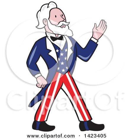 Clipart of a Retro Cartoon Uncle Sam Walking and Waving - Royalty Free Vector Illustration by patrimonio