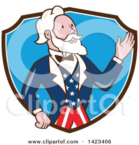 Clipart of a Retro Cartoon Uncle Sam Waving in a Brown White and Blue Shield - Royalty Free Vector Illustration by patrimonio
