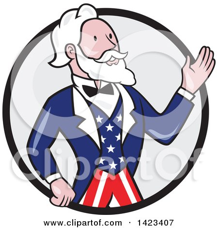 Clipart of a Retro Cartoon Uncle Sam Waving in a Black and Gray Circle - Royalty Free Vector Illustration by patrimonio