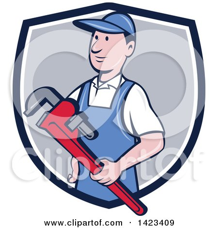 Retro Cartoon White Male Plumber or Handy Man Holding a Monkey Wrench, Emerging from a Blue White and Gray Shield Posters, Art Prints
