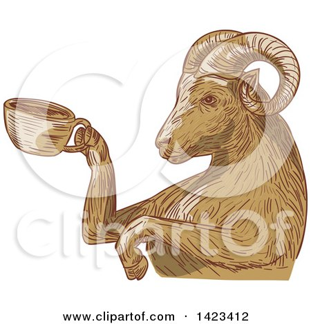 Clipart of a Sketched Ram Goat Holding a Coffee Cup - Royalty Free Vector Illustration by patrimonio