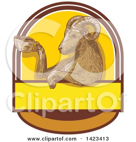 Clipart of a Sketched Ram Goat Holding a Coffee Cup in a Crest - Royalty Free Vector Illustration by patrimonio