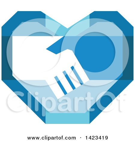 Retro Blue Heart with Shaking Hands Posters, Art Prints