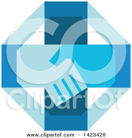 Retro Blue Cross with Shaking Hands Posters, Art Prints
