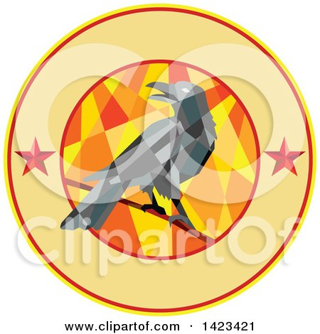 Clipart of a Geometric Low Polygon Styled Crow on a Branch in a Circle with Stars and Text Space - Royalty Free Vector Illustration by patrimonio