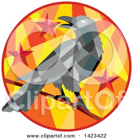 Clipart of a Geometric Low Polygon Styled Crow on a Branch in a Circle with Stars - Royalty Free Vector Illustration by patrimonio