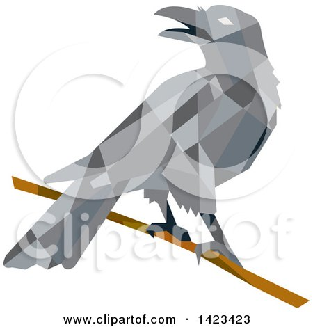 Clipart of a Geometric Low Polygon Styled Crow on a Branch - Royalty Free Vector Illustration by patrimonio