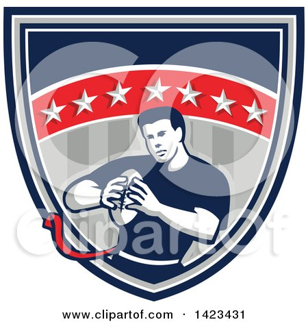 Clipart of a Retro Male Flag Football Player in a Flag Shield - Royalty Free Vector Illustration by patrimonio