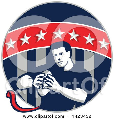 Clipart Of A Retro Male Flag Football Player In A Flag Circle Royalty Free Vector Illustration