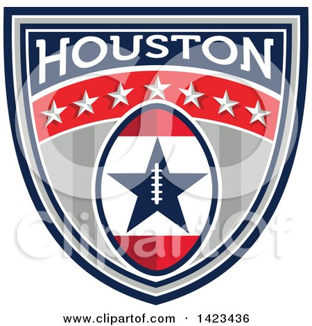 Clipart of a Retro Super Bowl 51 Houston, TX Themed Football Shield Design - Royalty Free Vector Illustration by patrimonio