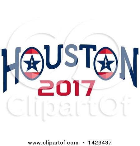 Clipart of a Retro Super Bowl 51 Houston 2017 Football Design - Royalty Free Vector Illustration by patrimonio