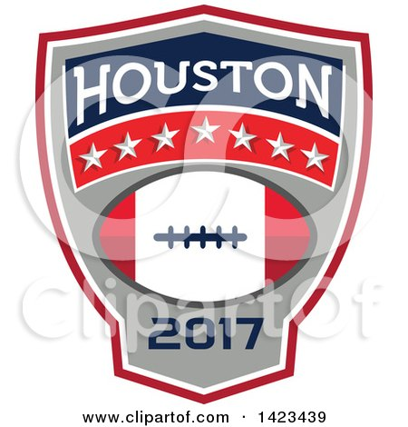 Clipart of a Retro Super Bowl 51 Houston, TX Themed Football Crest Design - Royalty Free Vector Illustration by patrimonio