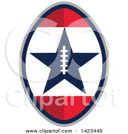 Clipart of a Retro Super Bowl 51 Football Design with a Star - Royalty Free Vector Illustration by patrimonio