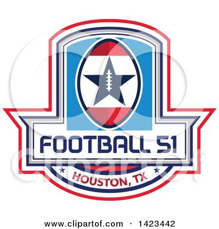 Clipart of a Retro Football 51 Houston, TX Design - Royalty Free Vector Illustration by patrimonio