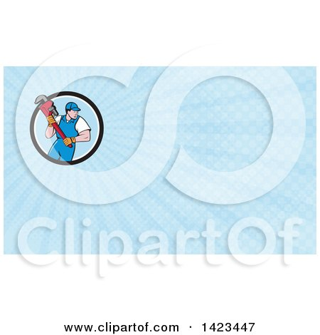 Retro Cartoon White Male Plumber or Handy Man Running with a Giant Monkey Wrench and Blue Rays Background or Business Card Design Posters, Art Prints
