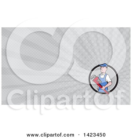 Retro Cartoon White Male Plumber or Handy Man Holding a Giant Monkey Wrench and Gray Rays Background or Business Card Design Posters, Art Prints