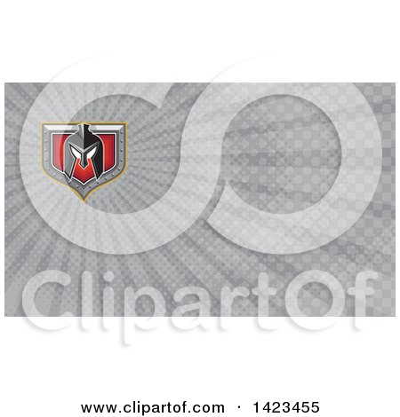 Clipart of a Retro Spartan Helmet over a Silver and Red Shield and Gray Rays Background or Business Card Design - Royalty Free Illustration by patrimonio