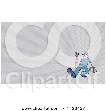 Clipart of a Retro Cartoon White Handy Man or Mechanic Walking with a Spanner Wrench and Tool Box and Gray Rays Background or Business Card Design - Royalty Free Illustration by patrimonio