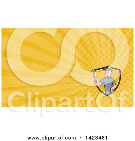 Clipart of a Retro Cartoon White Handy Man or Mechanic Holding a Spanner Wrench and Yellow Rays Background or Business Card Design - Royalty Free Illustration by patrimonio