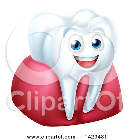 Clipart of a 3d Happy White Tooth Character in Gums - Royalty Free Vector Illustration by AtStockIllustration