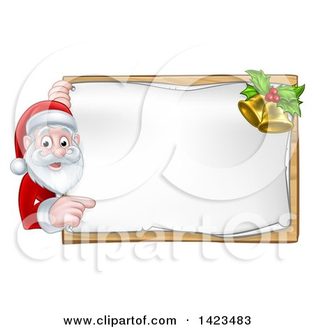 Clipart of a Cartoon Happy Christmas Santa Claus Pointing Around a Sign with Bells - Royalty Free Vector Illustration by AtStockIllustration
