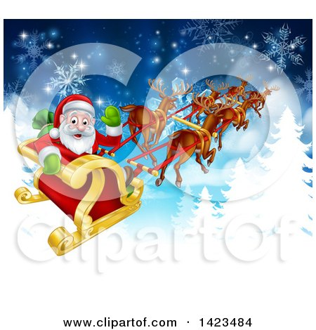 Clipart of a Team of Magic Christmas Reindeer Flying Santa in the Snow - Royalty Free Vector Illustration by AtStockIllustration