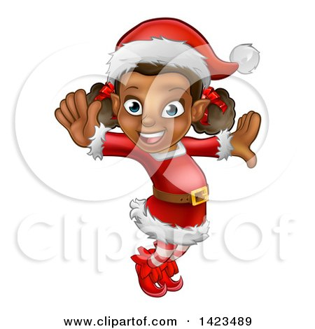 Clipart of a Happy Black Female Christmas Elf Jumping or Dancing - Royalty Free Vector Illustration by AtStockIllustration