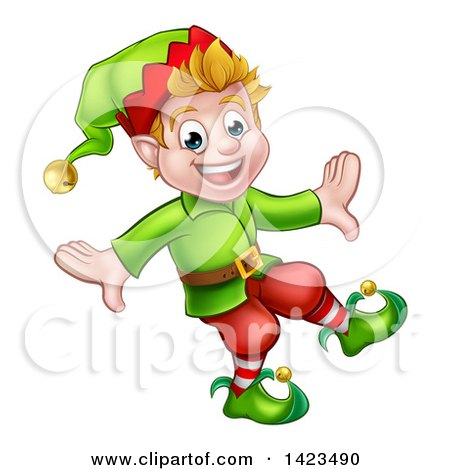 Clipart of a Happy Blond White Male Christmas Elf Walking or Dancing - Royalty Free Vector Illustration by AtStockIllustration