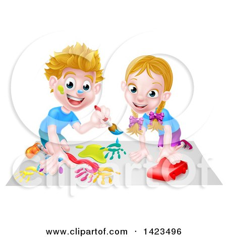 Cartoon Happy White Boy Kneeling and Painting Artwork and Girl Playing with a Toy Car Posters, Art Prints