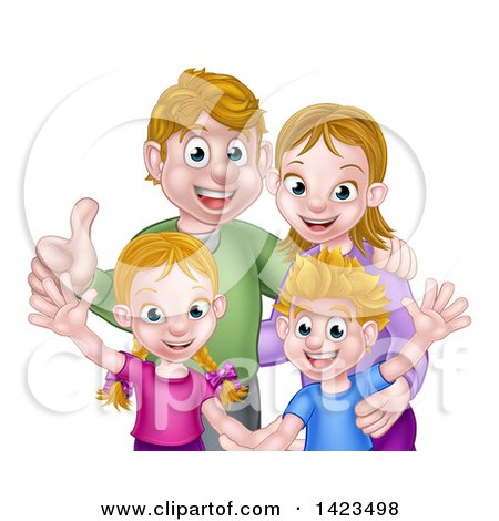 Clipart of a Cartoon Caucasian Brother and Sister Waving with Their Mom and Dad - Royalty Free Vector Illustration by AtStockIllustration