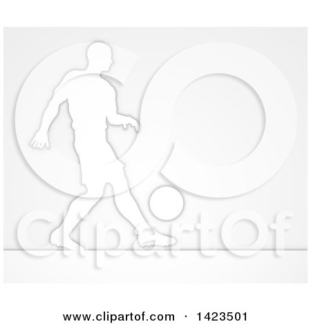 Clipart of a Silhouetted Male Soccer Football Player Dribbling the Ball, over Gray - Royalty Free Vector Illustration by AtStockIllustration