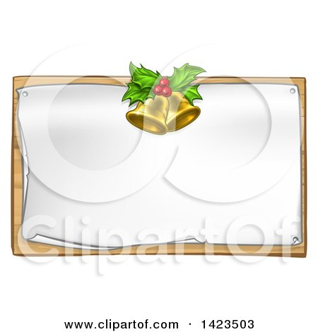 Clipart of 3d Gold Christmas Bells Holly and Berries over a Blank Sign - Royalty Free Vector Illustration by AtStockIllustration