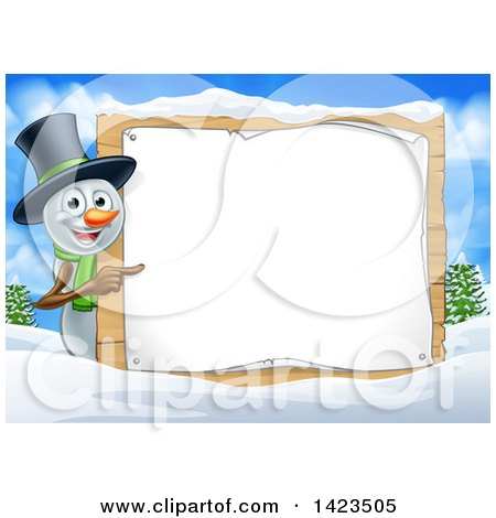 Clipart of a Happy Snowman Wearing a Christmas Top Hat and Pointing Around a Blank Sign in a Winter Landscape - Royalty Free Vector Illustration by AtStockIllustration